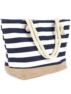 Burlap Bottom Stripe Beach Tote