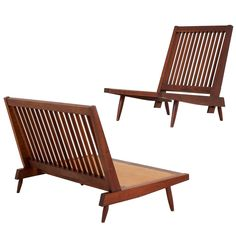 Walnut armless settee and chair  - by George Nakashima