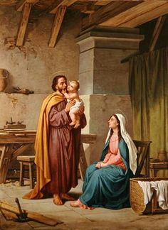 Famous paintings of Saints: The Holy Family in St Josephs Workshop Catholic Art, Catholic Saints, Religious Art, Religious Images, Blessed Mother Mary, Blessed Virgin Mary, St Joseph, Hl Georg, Jesus Christus