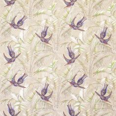 Fabric featuring purple birds in an oasis of green foliage on a neutral background. Matthew Williamson's love of colour, pattern and texture has been paired with Osborne & Little's savoir faire in furnishing fabrics and wallpaper for home interior decoration. Jewel coloured birds in a tropical oasis of rich foliage form the pattern of Sunbird. Uplifting and optimistic, the design was inspired by a print from Matthew Williamson's Flamingo Bay fashion collection.