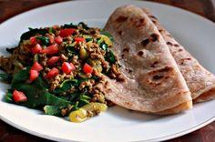 Sukuma Wiki with Chapati, traditional Kenyan dish.  These greens are amazing!!