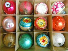 Vintage Christmas glass ornaments, box of 12 total: wire wrapped, indents, silver, pink, white, 3 1/2 in, Glass Christmas Ornaments, Christmas Lights, Christmas Time, Vintage Christmas, Christmas Decorations, Xmas, Christmas Stuff, Ornament Box, Vintage Ornaments
