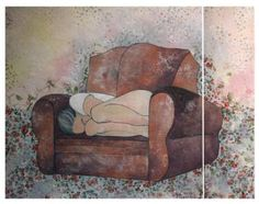 Buy 'armchair (alone) * again', a Acrylic on Canvas by Lena Kramarić from Croatia. It portrays: Women, relevant to: security, stars, woman, alone, small roses, preparations, armchair, gather strength, hidden, moment mixed media made on two canvas - one is 80x80 cm and other is 80x20 cm   you can place them on the wall separate, with space between or you can connect them in one piece. if you join them in one piece you will find, behind the work - small 'mechanism' - three small metal boards…