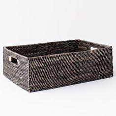 Modern Weave Underbed Storage, Blackwash