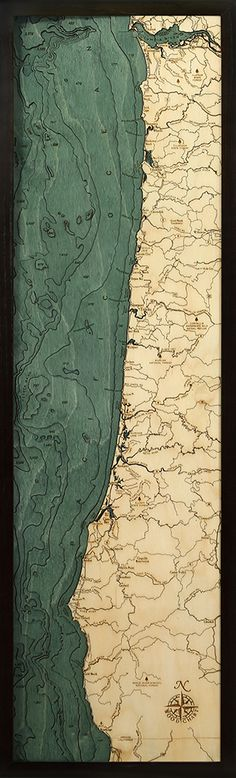 Extremely accurate bathymetric map of the Oregon Coast and surrounding area. This three dimensional framed map is carved from Baltic birch wood. Coos Bay, Gold Beach, Dark Wood Stain, Lake Art, Nautical Chart, State Forest, Topographic Map