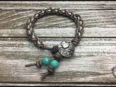 Kellie Sutton of . will show you how to make this super popular chain and leather bracelet. To purchase the kit go to: . Social Media L hippiejewelry Paracord, Wrap Bracelet Tutorial, How To Make Leather, Hippie Jewelry, Leather Jewelry, Beaded Earrings, Fashion Earrings, Jewelry Making, Jewellery