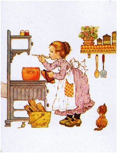 Idea for Kitchen Picture.(image by Sarah Kay) Sarah Key, Holly Hobbie, Mary May, Illustrator, Picture Postcards, Precious Moments, Cute Images, Sweet Memories, Vintage Pictures