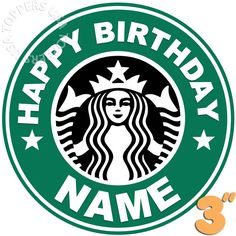 "EDIBLE Starbucks Logo Birthday Party Cake Topper Wafer Paper 3"" (uncut) decor decoration decorating"