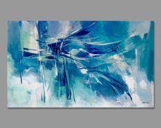 Gran turquesa azul verde y naranja abstracto pintura por Artoosh