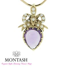 Yellow #gold compliments so many different coloured #gems! Pear shaped #amethyst #pendant with bow bale set with seed pearls! #montashjewellerydesign