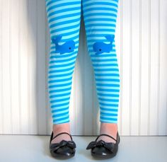 Leggings Blue Stripe with Whales -  Girls Sizes 12-18 mos, 2 / 3T, 4 / 5, 6 / 7 - by The Trendy Tot