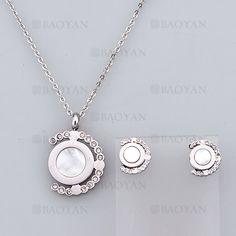 collar y aretes sencilla con cristal de plateado en acero-SSNEG804081
