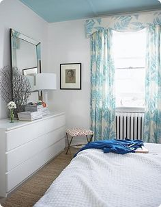ikea malm…very similar setup to our bedroom…this is the dresser we're getting for Gracie's room ikea malm…very similar setup to our bedroom…this is the dresser we're getting for Gracie's room… Ikea Malm, Budget Bedroom, Home Decor Bedroom, Bedroom Ideas, Beautiful Curtains, Beautiful Bedrooms, Blue Ceilings, Painted Ceilings, Canadian House