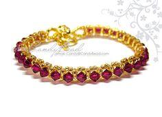 Swarovski Crystal Bracelet  Fuchsia and Gold Single by candybead