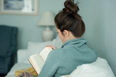 top-knot, comfy book reading attire.