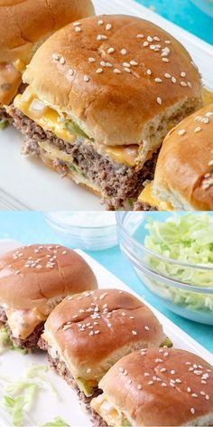 Big Mac Sliders - Party Rezepte - Fingerfood & Snacks - Home Best Sandwich Recipes, Best Appetizer Recipes, Best Appetizers, Pizza Recipes, Soup Recipes, Potato Recipes, Shrimp Recipes, Chicken Recipes, Game Day Appetizers