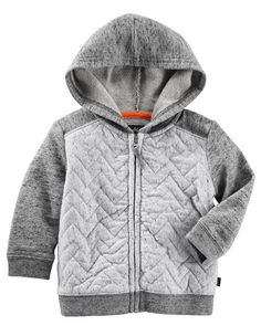 Baby Boy Quilted Hoodie. Featuring quilted stitching, this cozy zip-up layers perfectly over a bodysuit and joggers for cool, casual style.