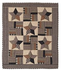 Bingham Star Quilted Throw - Primitive Star Quilt Shop