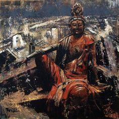 «Manjushri and Beijing», acrylic on canvas, 50 x 50 cm, 北京 2016. Alexander Bukreev, Buddhism