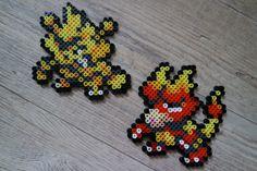 125 Élektek / Electabuzz 126 Magmar - Perler Beads by Vicsene Perler Bead Pokemon Patterns, Pokemon Perler Beads, Pixel Beads, Fuse Beads, Pokemon Blanket, Pokemon Sprites, 151 Pokemon, Crochet Pokemon, Gen 1