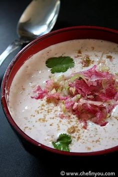 Beautiful Watermelon Radish is used raw in a popular Indian condiment called as Raita, a yogurt sauce with selective spices. Great with spicy main course. Tomato Raita Recipe, Raita Recipe Indian, Recipe For Raita, Curd Recipe, Raitha Recipes, Sauce Recipes, Indian Food Recipes, Asian Recipes, Indian Recipes