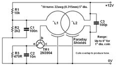 BASIC CIRCUITRY of Metal Detection Electronic Circuit Projects, Electrical Projects, Kids Electronics, Electronics Projects, Metal Detektor, Metal Detector Reviews, Whites Metal Detectors, Gold Detector, Electronic Schematics