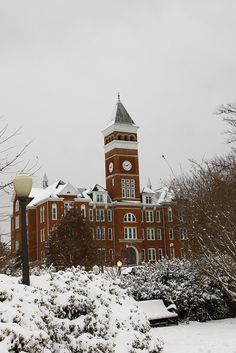 Clemson - 1.10.11 - Tillman Hall in the Snow by Tales from the Rainbow Room, via Flickr