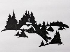 Cabin and mountain scene. Christmas Printables, Christmas Crafts, Christmas Decorations, Christmas Ornaments, Wood Burning Patterns, Wood Burning Art, Silhouette Art, Silhouette Projects, Kirigami