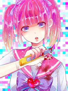 Anime picture 				1050x1400 with  		original 		menhera-chan 		koname 		single 		tall image 		short hair 		blush 		looking at viewer 		open mouth 		blonde hair 		simple background 		twintails 		purple eyes 		fringe 		pink hair 		standing 		short twintails 		head tilt 		gradient hair 		shiny