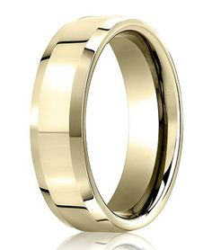 A brilliantly polished finish all around gives this 10K yellow gold ring a decadent look. At 6mm in width, it has a flat profile with beveled edges and a comfort fit interior. One of our finest gold wedding rings for men! Web Page:  http://www.justmensrings.com/Polished-10K-Yellow-Gold-Designer-Wedding-Band-with-Beveled-Edges-6mm--JB0305_p_948.html