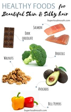 """10 Super Healthy foods to Attain Ravishing Skin and Silky Hair : Research shows that eating healthy food can influence your looks. Your hair growth, skin problem, hormonal changes all are tied up with one single thing and that is """"what you choose to eat"""". Foods For Healthy Skin, Healthy Hair, Healthy Eating, Foods For Hair, Foods That Clear Skin, Food Good For Skin, Foods For Clear Skin, Food For Glowing Skin, Glowing Face"""