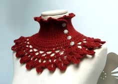 Rust brown crochet neckwarmer capelet with turtle neck by ixela, $53.00