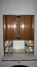 Mid Century Modern Walnut Floating Lighted Liquor - Bar Cabinet