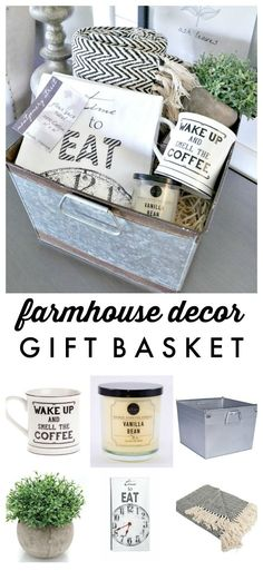 Farmhouse Decor Gift Basket – Perfect for a house warming or hostess gift!… Farmhouse Decor Gift Basket – Perfect for a house warming or hostess gift! Farmhouse Decor Gift Basket – Perfect for a house warming or hostess gift! Housewarming Gift Baskets, Diy Gift Baskets, Raffle Baskets, Christmas Gift Baskets, Christmas Gift For Boss, Simple Christmas Gifts, Gift Basket Ideas, Housewarming Gift Ideas First Home, Gift Baskets For Women