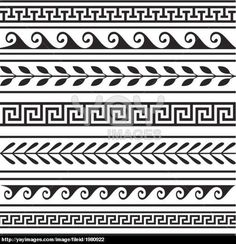 Vector - Set of geometric greek borders - stock illustration, royalty free illustrations, stock clip art icon, stock clipart icons,… Border Pattern, Border Design, Pattern Art, Art Patterns, Line Design Pattern, Pattern Design Drawing, Pottery Patterns, Pottery Designs, Pattern Ideas