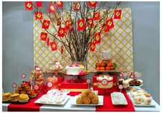 chinese new year table scape Chinese Birthday, Chinese New Year Party, Chinese New Year Decorations, New Years Decorations, New Years Eve Party, Chinese Theme, Chinese Holidays, Chinese Style, Panda Birthday Party