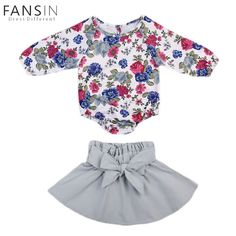 c45690d766f96 Aliexpress.com   Buy Newborn Baby Girl Clothes Set Long Sleeve Floral  Flower Romper + Skirt Infant Toddler Infant Clothes Jumpsuit Outfits  Clothing from ...