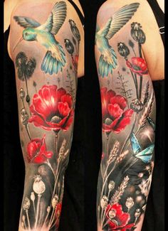 poppies and blue hummingbird tattoo flower tattoos on arm - tattoo designs for women - Great Tattoos, Beautiful Tattoos, Body Art Tattoos, New Tattoos, Sleeve Tattoos, Tatoos, Poppy Tattoo Sleeve, Tattoo Sleeves, Red Poppy Tattoo