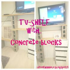 Shelf with concrete blocks