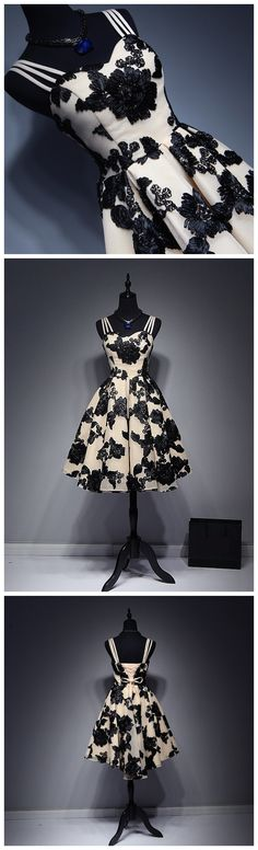CHIC HOMECOMING DRESS SPAGHETTI STRAPS BLACK VINTAGE TULLE CHEAP PROM DRESSES AM037
