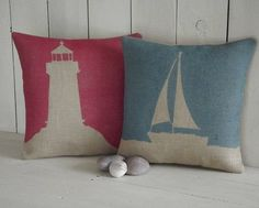 Perfect for a coastal themed room or beach house, this lighthouse cushion is hand-printed in the UK. Whilst this cushion looks great alone, it looks even better Burlap Pillows, Throw Pillows, Nautical Cushions, Applique Cushions, Printed Cushions, Country Crafts, Soft Furnishings, Cushion Covers, Lighthouse