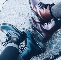 Who do you wear your Docs with? Black and Cherry Red 1460's. Shared by n0thing.here on Instagram.