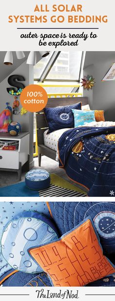 Let the countdown to bedtime begin! Create an outer space themed bedroom for your girl or boy with The Land of Nod's solar system bedding. Featuring planets, stars and constellations, this out-of-this-world set is bursting with astronomical wonder. And, add a matching rocket and moon throw pillow to finish the look. Plus, the entire lineup is made from the finest 100% cotton (meaning your little ones will love to snuggle into super-soft comfort.