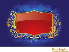 Royal red frame with golden florals in vector format. Frame Clipart, Reference Images, Vector Background, Ecommerce Hosting, Red Gold, Paper Flowers, Vector Free, Clip Art, Creative