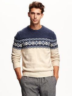 Men's Fair Isle Sweater section of information related to. Mens Fashion Sweaters, Mens Fashion Suits, Men Sweater, Mens Sweater Outfits, Outfits Casual, Mode Outfits, Sport Outfits, Mode Masculine, Fair Isle Pullover