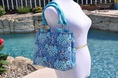 SWOON Melody Tote Handbag in Blue Floral - pinned by pin4etsy.com