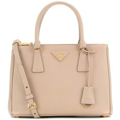 Prada Galleria Saffiano Small Leather Shoulder Bag (91,665 PHP) ❤ liked on Polyvore featuring bags, handbags, shoulder bags, borse, prada, beige, pink purse, leather man bags, pink shoulder handbags and hand bags