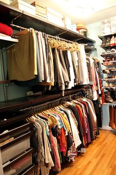 This elfa closet has great long-term storage at the top, excellent hanging space and drawers.  My favorite, part, though, is the shoe solution on the right.  See her boots hanging from a low closet rod on the bottom?  Genius!