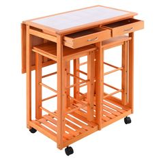 Rolling Kitchen Island Trolley Cart Drop Leaf Table W 2 Stools Home Breakfast Carts Islands