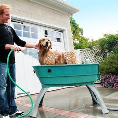 Say goodbye to smelly dogs. 360 degree access for easy bathing and drying. New two piece quick-snap tub. Saves your back and your bathroom. Drain hose allows you to easily direct drainage and you stay dry while bathing. Please allow 7-10 days for shipping.
